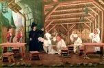 Il Consiglio dei Notabili implora il Pifferaio di liberare la città dai topi, promettendogli una generosa ricompensa.